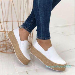 Shujin Белые кроссовки Женская обувь Весна кожа Плотная Bottom Узелок Женщины Квартиры Круглый Toe Мелкая Платформа Повседневный Mujer C09