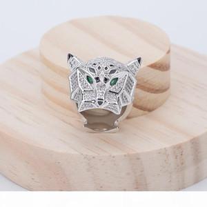 R de alta calidad de la manera Señora de latón llena de diamantes de circón de los ojos verdes la cabeza del leopardo 18k anillos de compromiso de boda del oro de 3 colores size6 -9