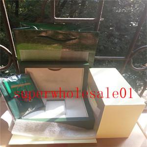 Все серии Оригинал Правильный Papers Luxury Top Green Gift Bag для Rolex коробки Буклеты часы свободной таможенной печати Модель Серийный номер карты 733