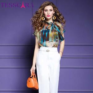 TESSCARA verano de las mujeres elegante camisa blusa de gasa femenina del partido de oficina Top Mujer alta calidad del diseñador camisas más el tamaño S-3XL