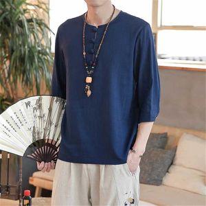 chemise de lin boucle à la main couleur unie absorbant la sueur des hommes en tête style chinois rétro Hanfu mode masculine costume tang