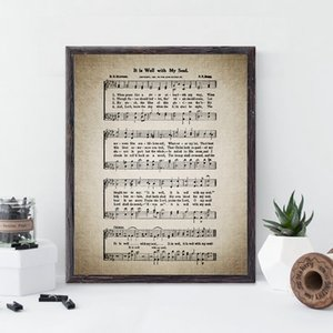 Vintage Sheet Music Prints It Is Well With My Soul Hymn Poster Christian Wall Art Canvas Painting Home Room Decor Musician Gift