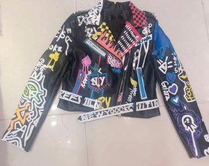 2020 Leather Jacket Women Graffiti Colorful Print Biker Jackets and Coats female Streetwear Faux Pu Jacket Ladies Outerwear clothes w892