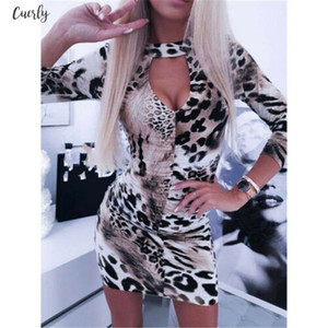 Women Sexy Deep V Neck Long Sleeve Bodycon Mini Dress Ladies Snake Skin Leopard Print Dress Clubwear Evening Party Short Dresses