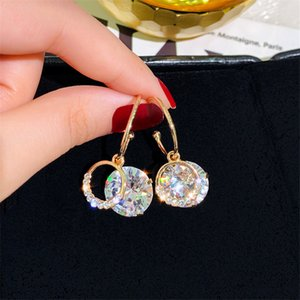 FYUAN Zircon Geometric Dangle Earrings for Women Bijoux Exquisite Small Circle Crystal Drop Earrings Statement Gifts