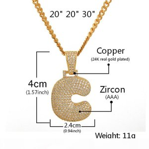 UA -Z Custom Name Bubble Letters Necklaces &Pendant Bling Cubic Zircon Hip Hop Jewelry 2 Colors With Cuban Chain Hot Sales