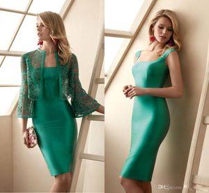 Дешевые Simple Green оболочки мать Свадебные платья Аппликация Кружева Пром платье длиной до колен матери жениха платья Eveing Gowns