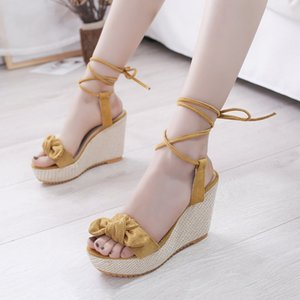 Wedge sandals women's 2020 summer ribbon bow buckle open-toed shoes high-heeled thick straw women's shoes