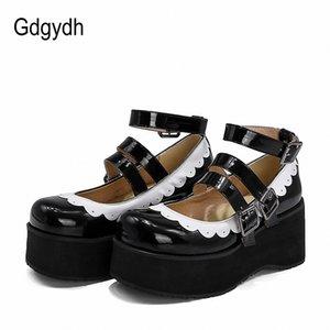 Gdgydh 2020 pattini della pompa donne Mary Janes Donna Single Toe Roune cinturino alla caviglia con fibbia Tacchi alti pattini delle ragazze Cosplay stile giapponese