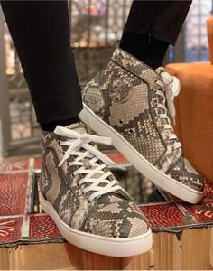 2020 cuero del diseñador para hombre Orlato Python Ronda del dedo del pie inferior rojo de lujo zapatillas de deporte de alta Zapatos Top Red Sole Soft Comfort Deportes fiesta de la boda