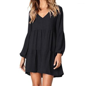 Dresses Knee Length Casual Spring Summer Ladies Dress Fashion Solid Lantern Sleeve Women Party Dress V Neck Womens