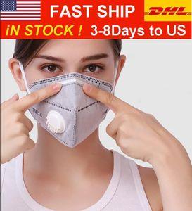 StockFree ABD! KN95 maskesi fabrikası kaynağı perakende paket% 95 filtresine 3-7 gün nakliye yılında Yeniden kullanılabilir 5 kat toz tutmayan koruyucu yüz maskesi maskesi