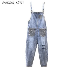 Spring Summer Fashion Women Denim Jumpsuits Hot Drilling Pockets Hole Strap Jeans Casual Students Denim Overalls