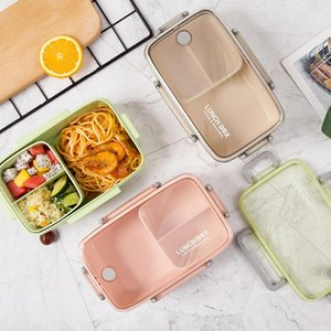 BPA Free Lunch Box Eco-friendly Bamboo Fiber Material Portable Bento Box Microwaveble Food Storage Container For Office Children T200523