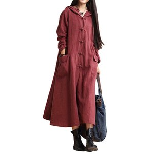 Women Vintage Loose O Neck Long Sleeve Hooded Maxi Dress Long Coat Jacket Ladies Casual Plus Size Solid Color Pockets Cardigan O