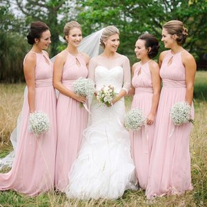New Cheap Country Pink Chiffon A Line Bridesmaid Dresses Long African Country Wedding Guest Party Dresses Maid Of Honor Dress