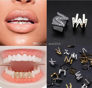 Los dientes de oro blanco de oro hacia fuera helado A-Z Letra de encargo Grillz de diamante completo del bricolaje colmillo Parrillas Cosplay Diente Cap Hip Hop boca dental dientes Tirantes
