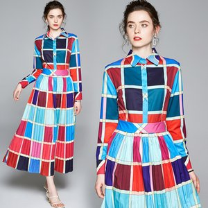 Lady Dress Long Sleeve Contrast Color Pleated Prom Eveing Dresses Retro Spring Autumn Maxi Dress High-end Women Long Dress