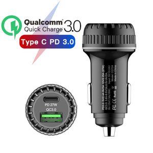 5A 자동차 충전기 빠른 충전기 QC 3.0 차 전화 충전기 듀얼 USB 36W 타입 C LED 9V 차량이 빠른 샤오 미 아이폰 충전 4.0 PD