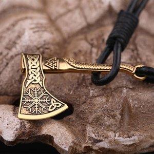 Teamer baratija de color oro vikingo eslava Aegishjalmur Axe pulsera tejida Ronda Negro de cuerda pulsera amuleto joyas para hombres