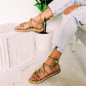 Dihope Casuals Corde Femmes Derbies Chaussures De Mujer Sandales Boho Sandales Femme Croix Tied