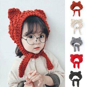 los niños del padre-niño del sombrero Ins suave hermana de lana Cap mano punto sombrero de la historieta del gato con cordones de orejeras orejeras
