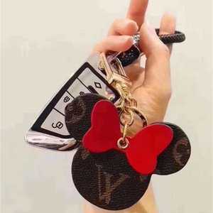 Большой уха способа печати Женщины брелок брелок Симпатичные цепи PU Key Bag Charm Boutique автомобиля держатель ключа мыши Дизайнер Ключ аксессуары кольцо