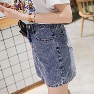 2020 new high-waisted Student dress denim skirt summer denim skirt half-length Medium-length dress children Korean style Students
