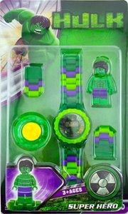 18 montres électroniques Avengers Hulk Spider-Man Iron Man minifigure tournant assemblé des blocs de construction regarder les cadeaux de jouets pour enfants