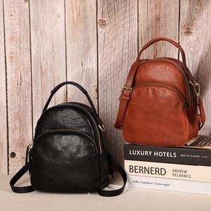 Cowhide Women Handbag Genuine Leather Thread Student Female Shoulder Bag Handmade Multi-function Travel Bag