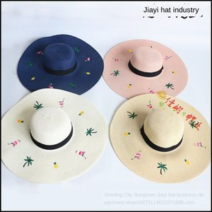 tVCiI Korean version of ins Flamingo embroidery big eaves straw Embroidered straw hat female fashionable summer travel Beach sunshade beach