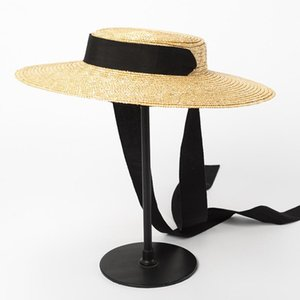 Boater Hat Summer Beach Sun Hat for Women 2018 Ladies Wheat Straw with Ribbon Ties