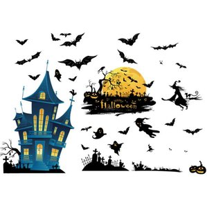 Halloween Bat Pumpkin Window Decals Wall Stickers Bloody Handprint Sticker PVC Stickers Decals for Halloween Party Decorations