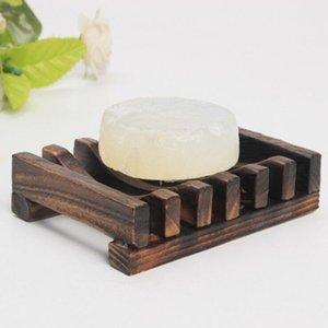 Vaisselle en bois Savon Drainante Concise Savon Boîte en bois contenant Holder Woods plateau salle de bains douche WY704Q étagère de stockage