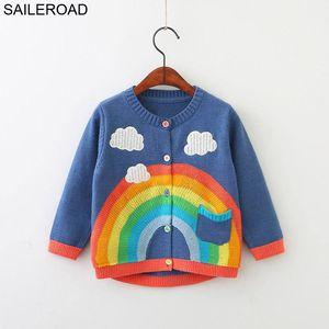 SAILEROAD 2-7years del arco iris bordado suéter de punto para Girl Cardigan Otoño para Niños suéteres para niñas Ropa Infantil CX200729
