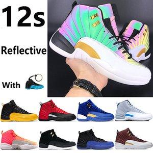 12 nouveaux 12s chaussures de basket-ball Jumpman irisé or université jeu grippe inverse le lever du soleil réfléchissant CNY taureaux gymnase hommes rouge formateur baskets
