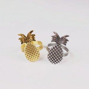 10pcs alliage de zinc plaqué boucle serviette ananas anneau d'ananas anneau de serviette de fruits tropicaux