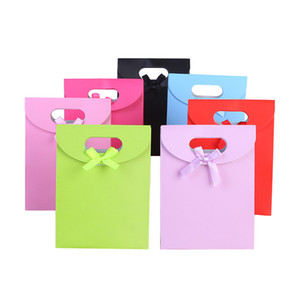 colorful with ribbon bowknot Wedding favor gift bag baby shower favor gift bag candy chocolate cookies gift box bags LZ0741