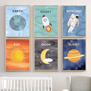Cartoon Universe Sun Earth Planet Astronaut Leinwand-Malerei Sehen Sie sich die Sterne Bild Plakat und Print-Wand-Kunst-Dekor