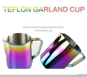 350ml 600ml Milk Frothing Jug Espresso Coffee Pitcher Barista Craft Coffee Latte 20 oz Stainless Steel Rainbow Milk Mugs