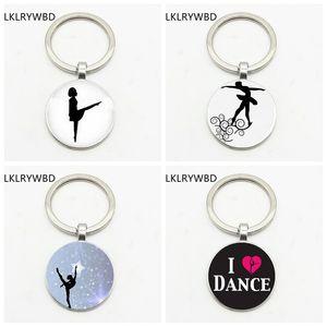 LKLRYWBD Trendy Klasik Dansçı Kız kolye Yuvarlak Cam Anahtarlık I Love Dans Bildirimi Anahtarlık Jimnastik Dans Öğretmeni Hediye