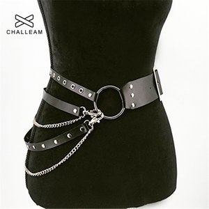 Ladies Fashion Sexy Gothic Punk Belt Leather Jeans Chain Strap Metal Ring Design Silver Pin Buckle Women Belts x212