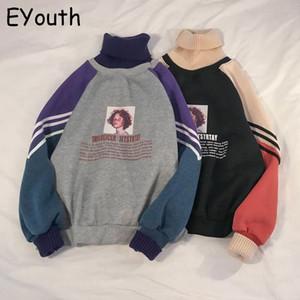 2020 Hoodie Sweatshirt Women Winter Oversize Tops Fashion Pattern Printed Sweatshirt Autumn Turtleneck Outerwear Warm Pullover MX200613