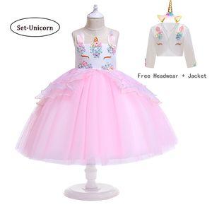 Children Girl Christmas Unicorn Dress Girl Fantasy Birthday Party Carnival Princess Dresses For Girl Kids Wedding Tutu Custome T200709