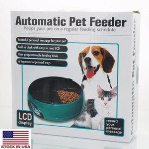 6 meals pet automatic feeder cat and dog plastic food bowl intelligent voice reminder ABS feeding bowl light blue pet food training device