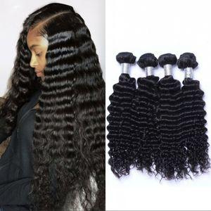 Malaysian Hair Weave Bundles Deep Wave Bundles Human Hair 4 Bundles Virgin Hair Extensions 100g pc