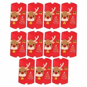 11pcs de Navidad elegante caja del caramelo de chocolate de la forma de almohada Galletas casos, la esfera de Navidad presenta los rectángulos para el festival del partido del hogar h8Fi #