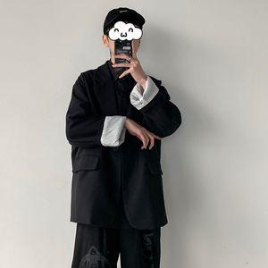 2020 Мужская мода Trend Blazer западные одежда Верхняя одежда высокого качества Свободный костюм куртки черного цвета пальто плюс размер S-2XL