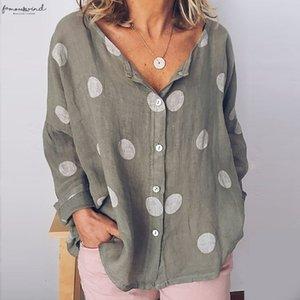 Summer Baggy Dot Print Linen Blouse Women Plus Size Long Sleeve Womens Tunic Cotton Linen Shirt Ladies White Womens Tops Blouses