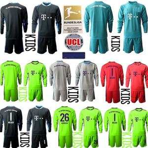 2020 2021 çocuk Kaleci 20 21 Futbol Gömlek Uzun Kollu Futbol Formalar gençlik erkek çocuklara 1 NEUER 26 Ulreich kiti